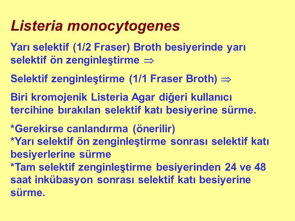 Listeria monocytogenes Yarı selektif (1/2 Fraser) Broth besiyerinde yarı selektif ön zenginleştirme  Selektif zenginleştirme (1/1 Fraser Broth)  Biri kromojenik Listeria Agar diğeri kullanıcı tercihine bırakılan selektif katı besiyerine sürme.