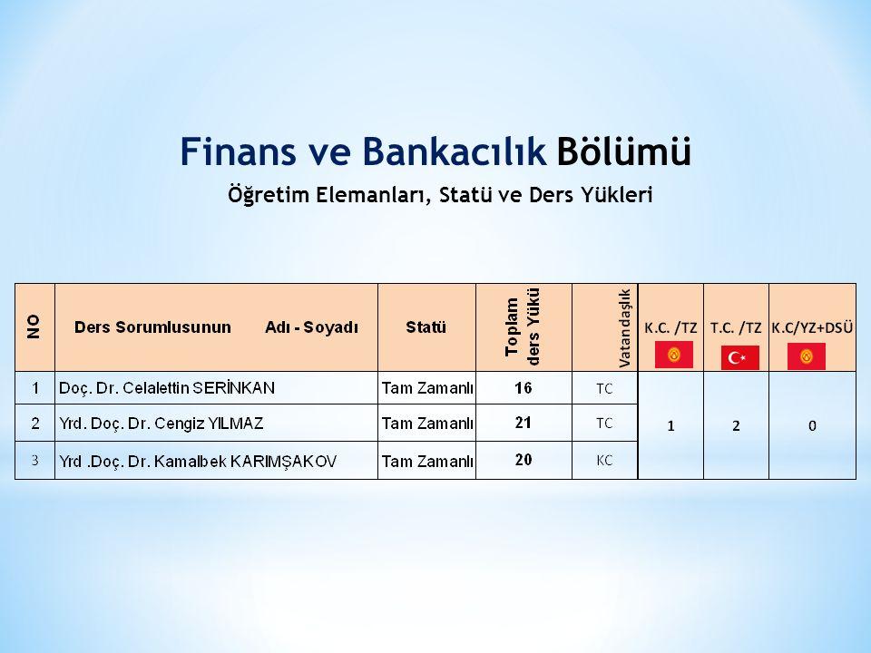 Finans ve Bankacılık Bölümü Öğretim Elemanları, Statü ve Ders Yükleri