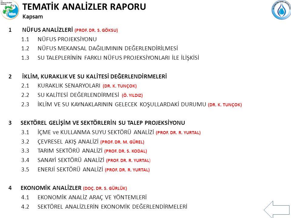 TEMATİK ANALİZLER RAPORU Kapsam 1 NÜFUS ANALİZLERİ (PROF.
