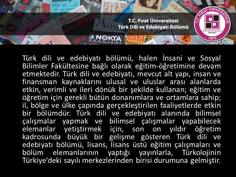 Türk dili ve edebiyatı bölümü, halen İnsani ve Sosyal Bilimler Fakültesine bağlı olarak eğitim-öğretimine devam etmektedir.
