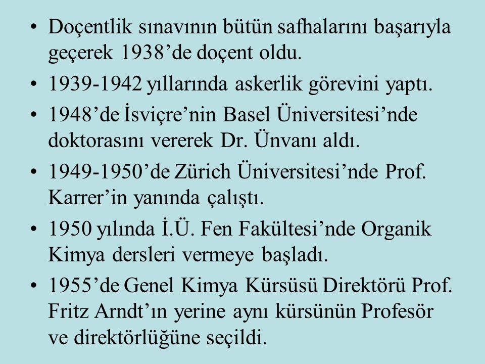 Doçentlik sınavının bütün safhalarını başarıyla geçerek 1938'de doçent oldu.