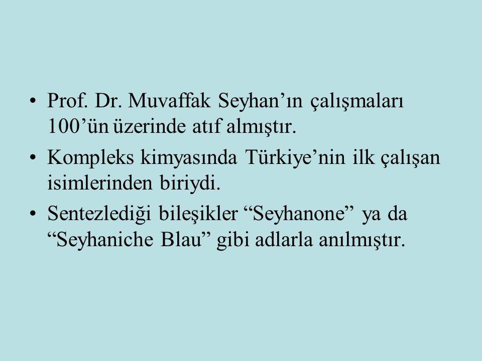 Prof. Dr. Muvaffak Seyhan'ın çalışmaları 100'ün üzerinde atıf almıştır.