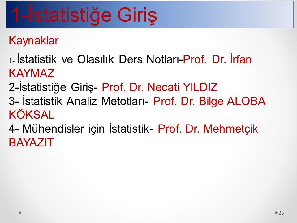 1-İstatistiğe Giriş 25 Kaynaklar 1- İstatistik ve Olasılık Ders Notları-Prof. Dr. İrfan KAYMAZ 2-İstatistiğe Giriş- Prof. Dr. Necati YILDIZ 3- İstatis