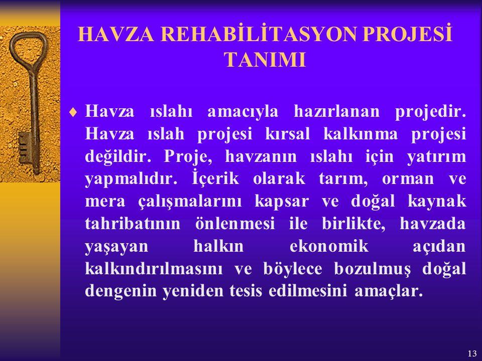 13 HAVZA REHABİLİTASYON PROJESİ TANIMI  Havza ıslahı amacıyla hazırlanan projedir.