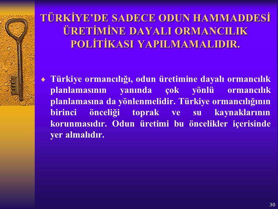 30 TÜRKİYE'DE SADECE ODUN HAMMADDESİ ÜRETİMİNE DAYALI ORMANCILIK POLİTİKASI YAPILMAMALIDIR.
