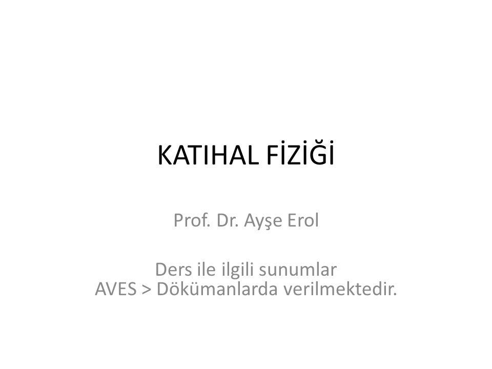 KATIHAL FİZİĞİ Prof. Dr. Ayşe Erol Ders ile ilgili sunumlar AVES > Dökümanlarda verilmektedir.