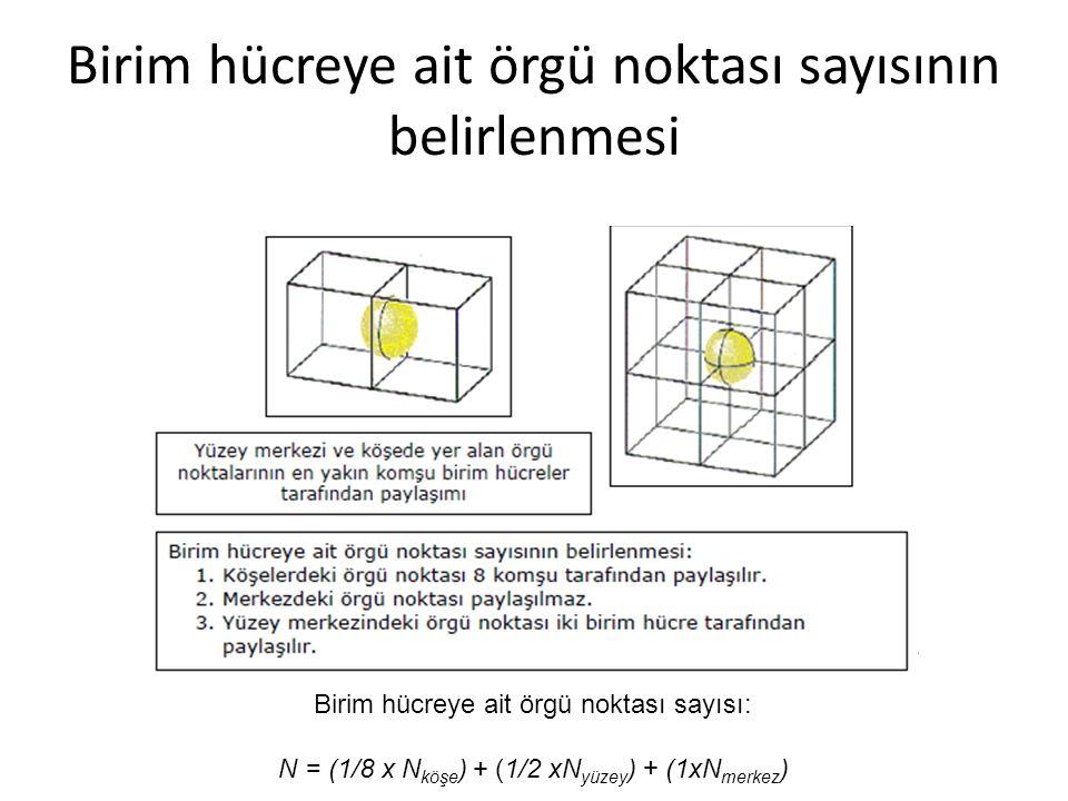 Birim hücreye ait örgü noktası sayısının belirlenmesi Birim hücreye ait örgü noktası sayısı: N = (1/8 x N köşe ) + (1/2 xN yüzey ) + (1xN merkez )