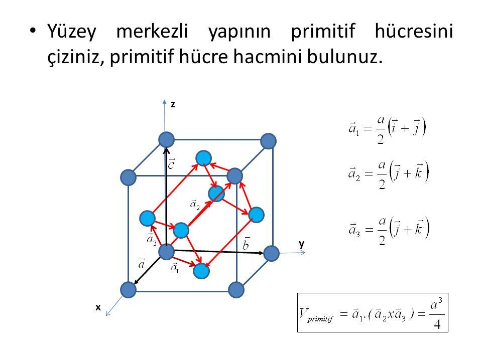 Yüzey merkezli yapının primitif hücresini çiziniz, primitif hücre hacmini bulunuz. x y z