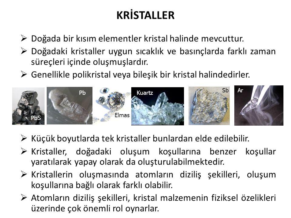  Doğada bir kısım elementler kristal halinde mevcuttur.
