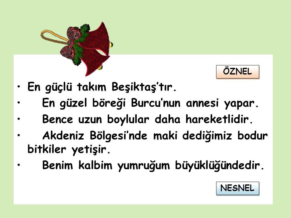 En güçlü takım Beşiktaş'tır. En güzel böreği Burcu'nun annesi yapar.