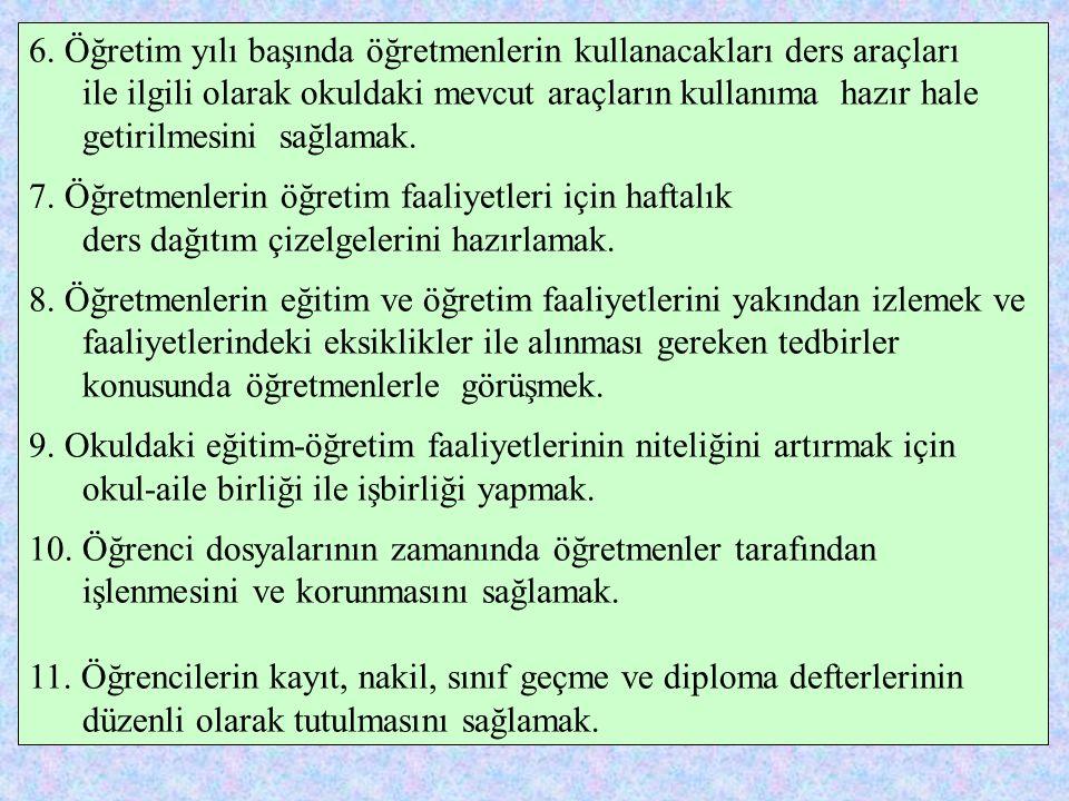 OKUL YÖNETİCİLERİNİN GÖREVLERİ 1.