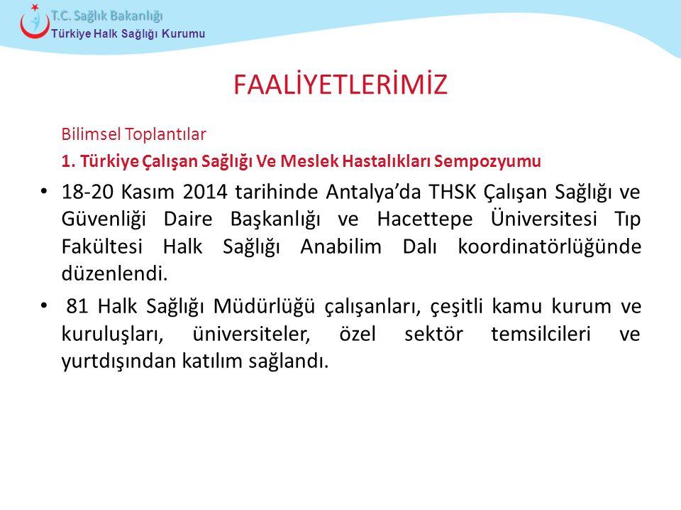 Çocuk ve Ergen Sağlığı Daire Başkanlığı Türkiye Halk Sağlığı Kurumu T.C. Sağlık Bakanlığı FAALİYETLERİMİZ Bilimsel Toplantılar 1. Türkiye Çalışan Sağl