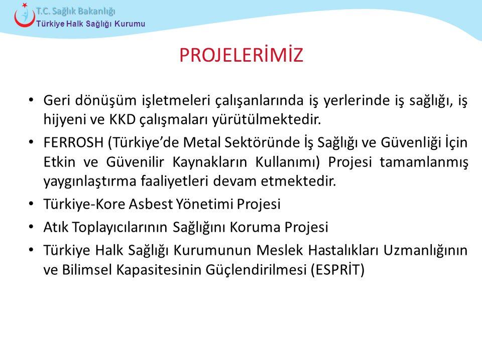 Çocuk ve Ergen Sağlığı Daire Başkanlığı Türkiye Halk Sağlığı Kurumu T.C. Sağlık Bakanlığı PROJELERİMİZ Geri dönüşüm işletmeleri çalışanlarında iş yerl