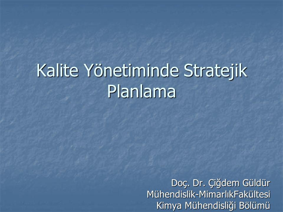 Kalite Yönetiminde Stratejik Planlama Doç. Dr.
