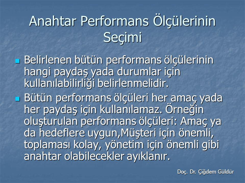 Anahtar Performans Ölçülerinin Seçimi Belirlenen bütün performans ölçülerinin hangi paydaş yada durumlar için kullanılabilirliği belirlenmelidir.