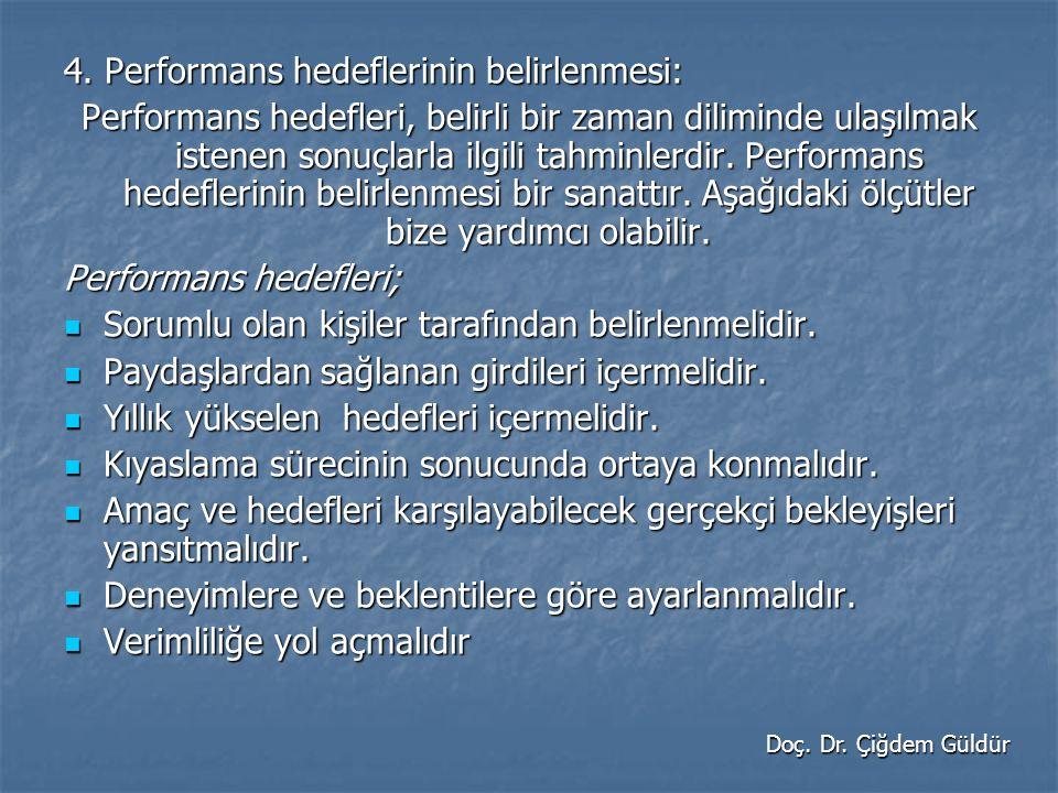 4. Performans hedeflerinin belirlenmesi: Performans hedefleri, belirli bir zaman diliminde ulaşılmak istenen sonuçlarla ilgili tahminlerdir. Performan