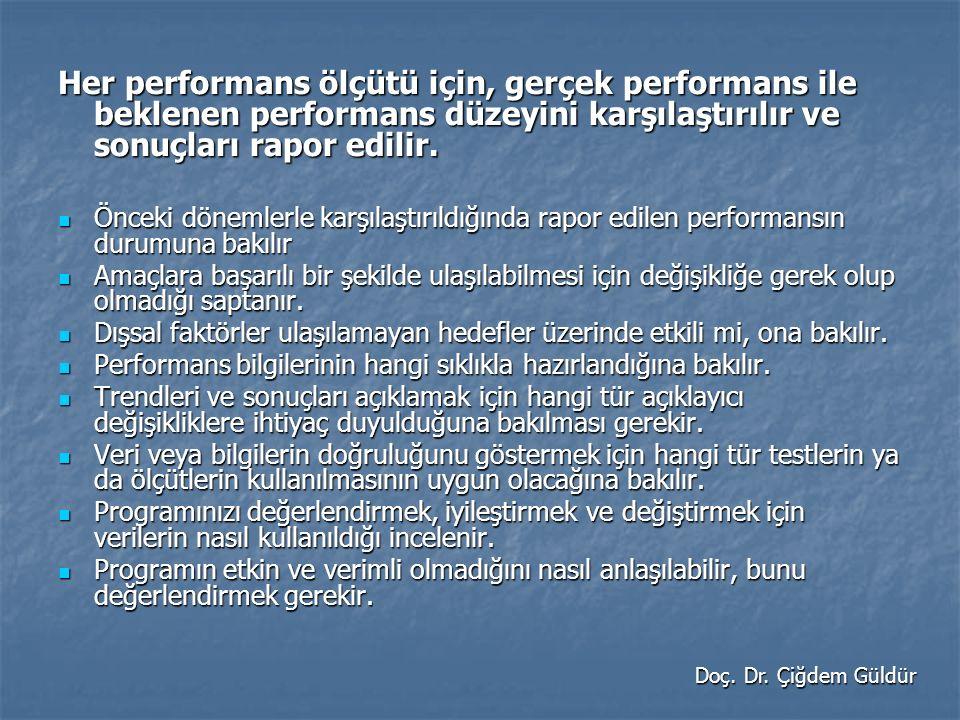 Her performans ölçütü için, gerçek performans ile beklenen performans düzeyini karşılaştırılır ve sonuçları rapor edilir.