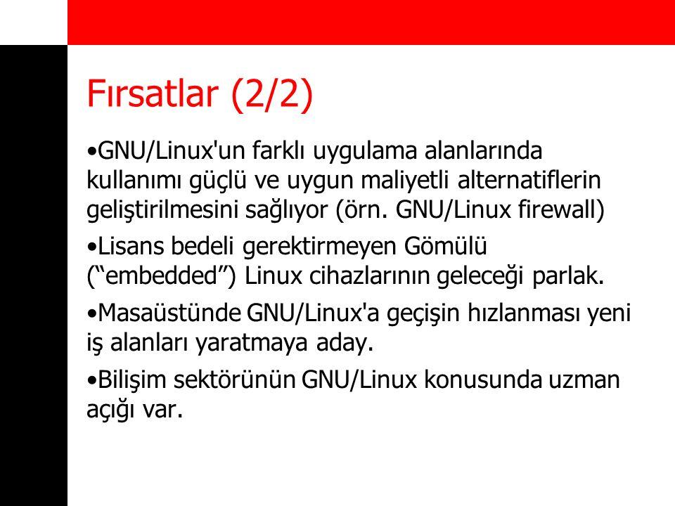 Fırsatlar (2/2) GNU/Linux'un farklı uygulama alanlarında kullanımı güçlü ve uygun maliyetli alternatiflerin geliştirilmesini sağlıyor (örn. GNU/Linux