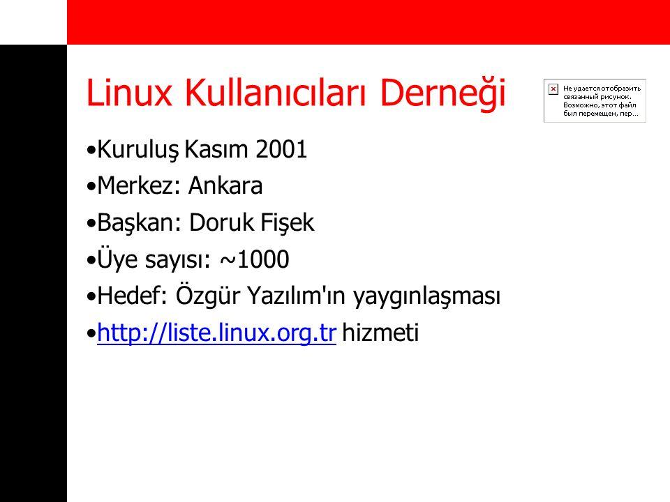 Linux Kullanıcıları Derneği Kuruluş Kasım 2001 Merkez: Ankara Başkan: Doruk Fişek Üye sayısı: ~1000 Hedef: Özgür Yazılım'ın yaygınlaşması http://liste