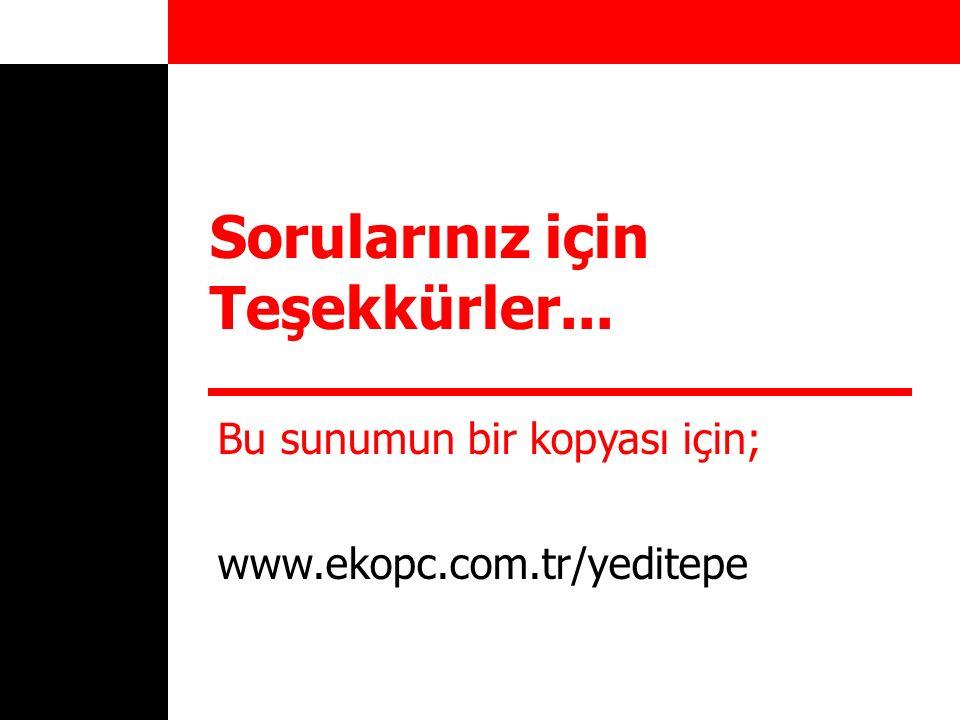 Sorularınız için Teşekkürler... Bu sunumun bir kopyası için; www.ekopc.com.tr/yeditepe