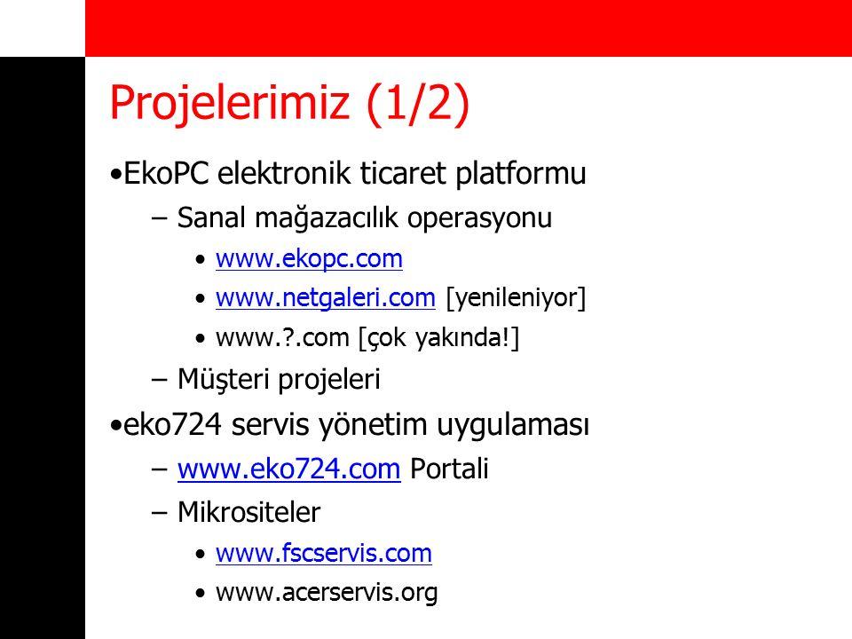 Projelerimiz (2/2) Internet Web sitesi projeleri –GNU/Linux platformu –Özgür uygulama geliştirme araçları –Kolay güncellenen, yazılım destekli uygulama platformu –Farklı sektörlere yönelik özel hizmetler (SEO çalışması vb.) –Kurumsal internet hizmetleri (kurumsal e-posta vb.)