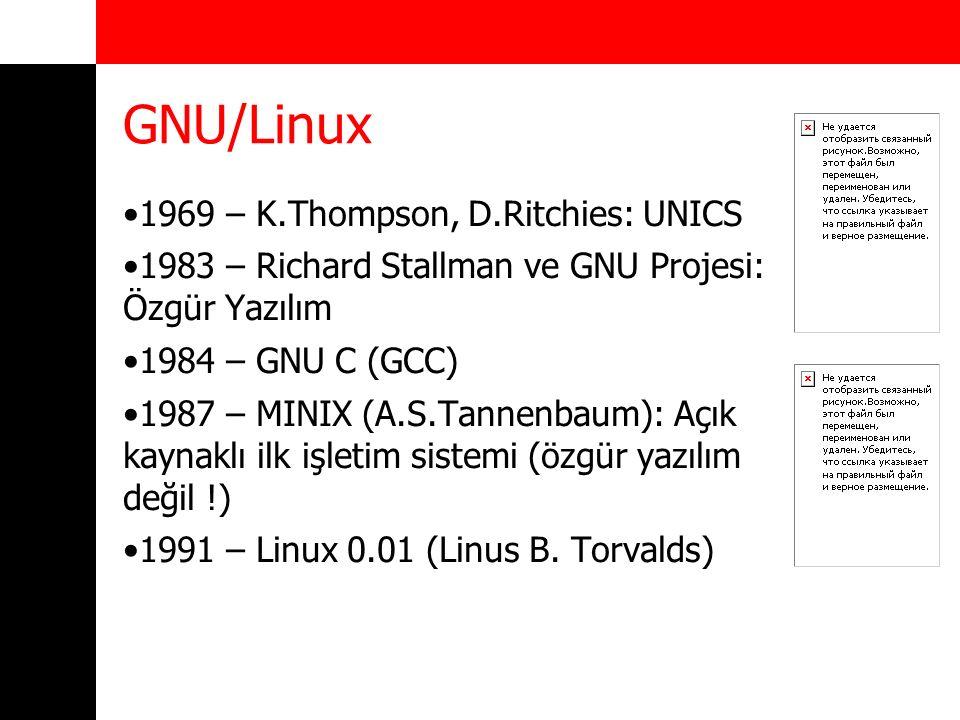 GNU/Linux 1969 – K.Thompson, D.Ritchies: UNICS 1983 – Richard Stallman ve GNU Projesi: Özgür Yazılım 1984 – GNU C (GCC) 1987 – MINIX (A.S.Tannenbaum):