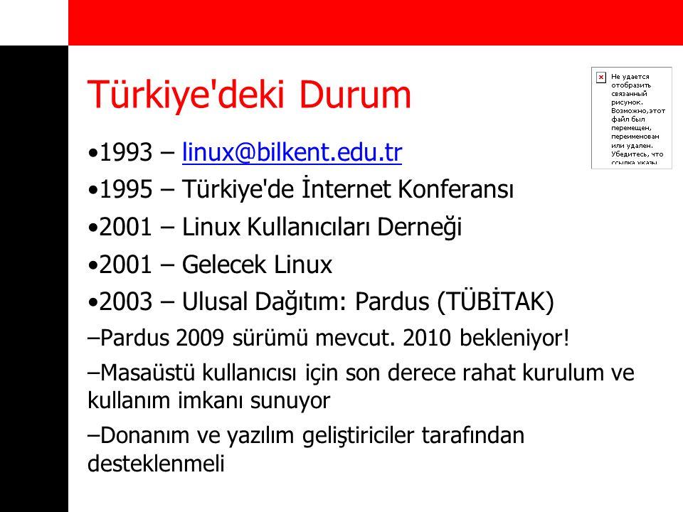 Türkiye'deki Durum 1993 – linux@bilkent.edu.trlinux@bilkent.edu.tr 1995 – Türkiye'de İnternet Konferansı 2001 – Linux Kullanıcıları Derneği 2001 – Gel