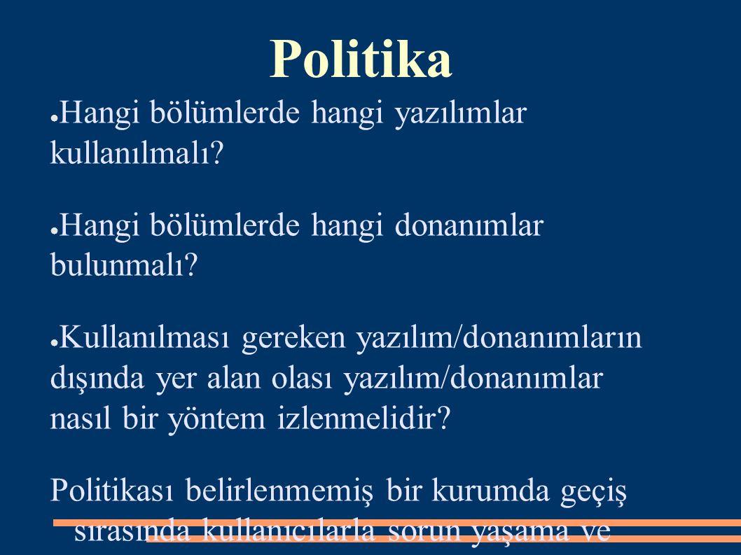 Politika ● Hangi bölümlerde hangi yazılımlar kullanılmalı.
