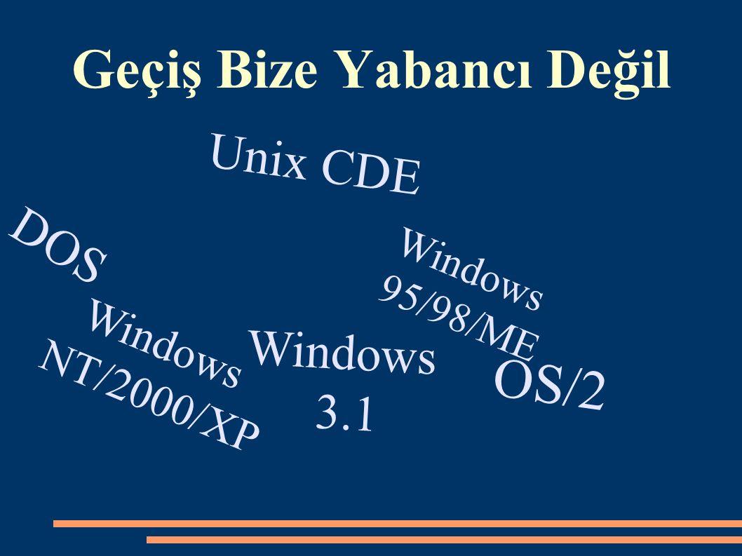 Geçiş Bize Yabancı Değil Windows 3.1 OS/2 Unix CDE Windows 95/98/ME Windows NT/2000/XP DOS