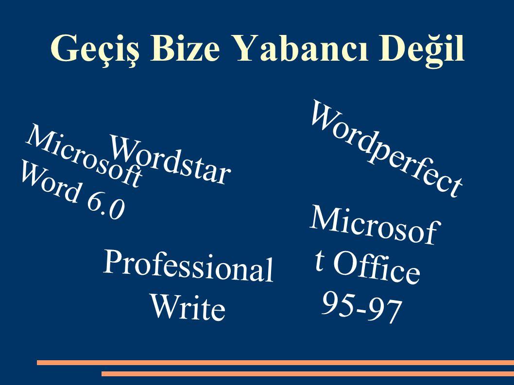 Geçiş Bize Yabancı Değil Professional Write Microsof t Office 95-97 Wordstar Wordperfect Microsoft Word 6.0