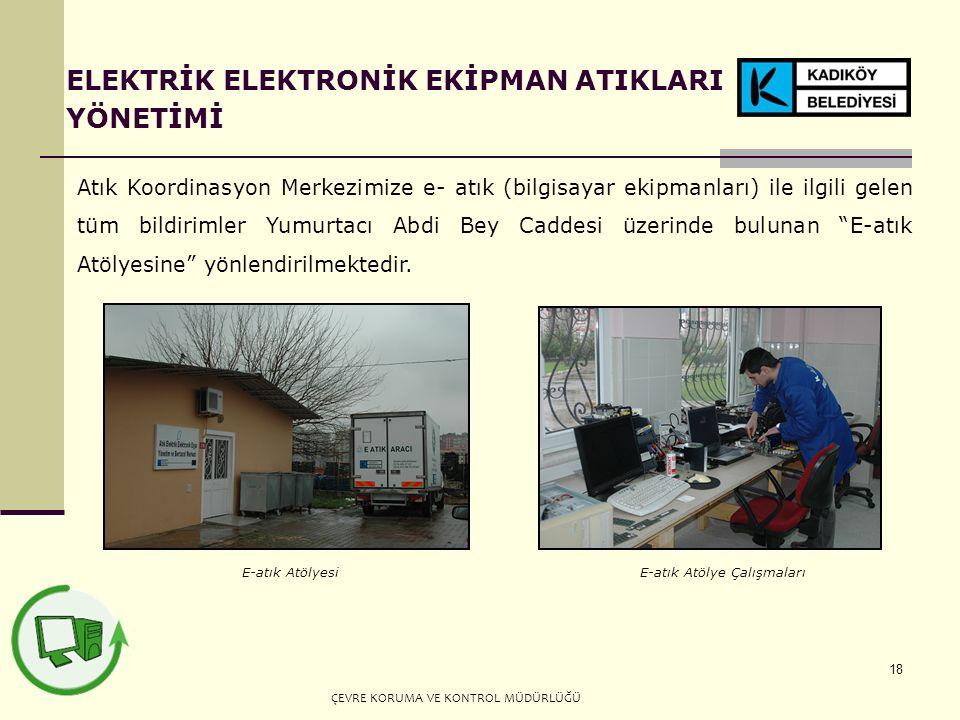18 Atık Koordinasyon Merkezimize e- atık (bilgisayar ekipmanları) ile ilgili gelen tüm bildirimler Yumurtacı Abdi Bey Caddesi üzerinde bulunan E-atık Atölyesine yönlendirilmektedir.