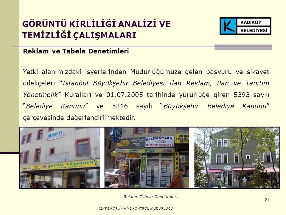 21 GÖRÜNTÜ KİRLİLİĞİ ANALİZİ VE TEMİZLİĞİ ÇALIŞMALARI Reklam ve Tabela Denetimleri Yetki alanımızdaki işyerlerinden Müdürlüğümüze gelen başvuru ve şikayet dilekçeleri İstanbul Büyükşehir Belediyesi İlan Reklam, İlan ve Tanıtım Yönetmelik Kuralları ve 01.07.2005 tarihinde yürürlüğe giren 5393 sayılı Belediye Kanunu ve 5216 sayılı Büyükşehir Belediye Kanunu çerçevesinde değerlendirilmektedir.