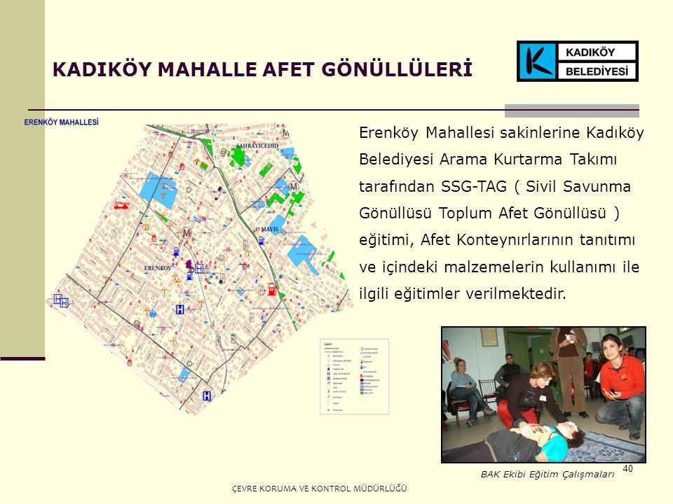 40 KADIKÖY MAHALLE AFET GÖNÜLLÜLERİ Erenköy Mahallesi sakinlerine Kadıköy Belediyesi Arama Kurtarma Takımı tarafından SSG-TAG ( Sivil Savunma Gönüllüsü Toplum Afet Gönüllüsü ) eğitimi, Afet Konteynırlarının tanıtımı ve içindeki malzemelerin kullanımı ile ilgili eğitimler verilmektedir.