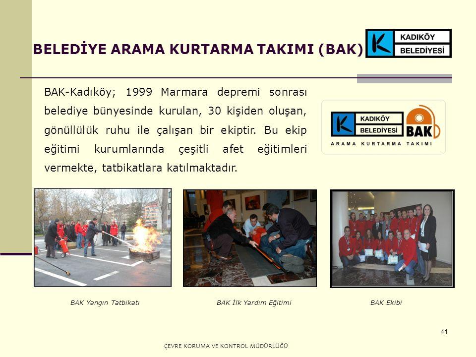 41 BELEDİYE ARAMA KURTARMA TAKIMI (BAK) BAK-Kadıköy; 1999 Marmara depremi sonrası belediye bünyesinde kurulan, 30 kişiden oluşan, gönüllülük ruhu ile çalışan bir ekiptir.