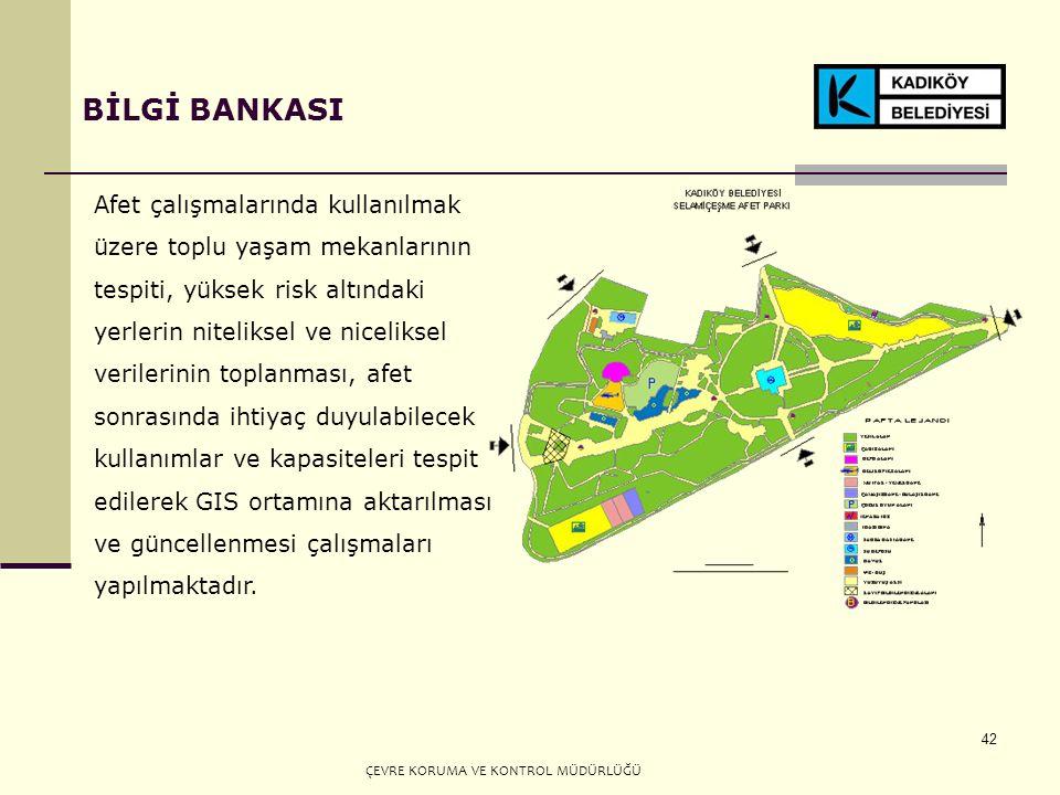 42 BİLGİ BANKASI Afet çalışmalarında kullanılmak üzere toplu yaşam mekanlarının tespiti, yüksek risk altındaki yerlerin niteliksel ve niceliksel verilerinin toplanması, afet sonrasında ihtiyaç duyulabilecek kullanımlar ve kapasiteleri tespit edilerek GIS ortamına aktarılması ve güncellenmesi çalışmaları yapılmaktadır.