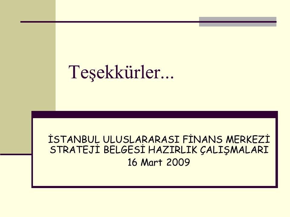 İSTANBUL ULUSLARARASI FİNANS MERKEZİ STRATEJİ BELGESİ HAZIRLIK ÇALIŞMALARI 16 Mart 2009 Teşekkürler...