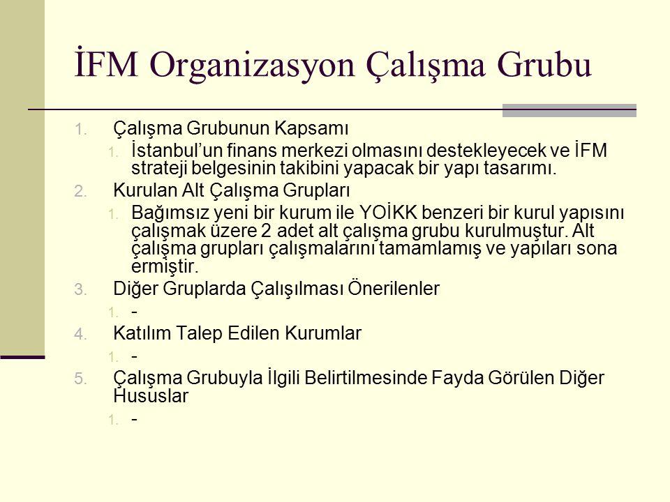 İFM Organizasyon Çalışma Grubu 1. Çalışma Grubunun Kapsamı 1.