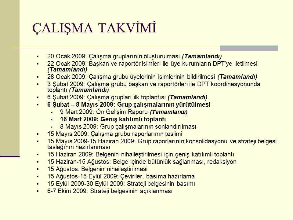 ÇALIŞMA TAKVİMİ  20 Ocak 2009: Çalışma gruplarının oluşturulması (Tamamlandı)  22 Ocak 2009: Başkan ve raportör isimleri ile üye kurumların DPT'ye iletilmesi (Tamamlandı)  28 Ocak 2009: Çalışma grubu üyelerinin isimlerinin bildirilmesi (Tamamlandı)  3 Şubat 2009: Çalışma grubu başkan ve raportörleri ile DPT koordinasyonunda toplantı (Tamamlandı)  6 Şubat 2009: Çalışma grupları ilk toplantısı (Tamamlandı)  6 Şubat – 8 Mayıs 2009: Grup çalışmalarının yürütülmesi 9 Mart 2009: Ön Gelişim Raporu (Tamamlandı) 16 Mart 2009: Geniş katılımlı toplantı 8 Mayıs 2009: Grup çalışmalarının sonlandırılması  15 Mayıs 2009: Çalışma grubu raporlarının teslimi  15 Mayıs 2009-15 Haziran 2009: Grup raporlarının konsolidasyonu ve strateji belgesi taslağının hazırlanması  15 Haziran 2009: Belgenin nihaileştirilmesi için geniş katılımlı toplantı  15 Haziran-15 Ağustos: Belge içinde bütünlük sağlanması, redaksiyon  15 Ağustos: Belgenin nihaileştirilmesi  15 Ağustos-15 Eylül 2009: Çeviriler, basıma hazırlama  15 Eylül 2009-30 Eylül 2009: Strateji belgesinin basımı  6-7 Ekim 2009: Strateji belgesinin açıklanması
