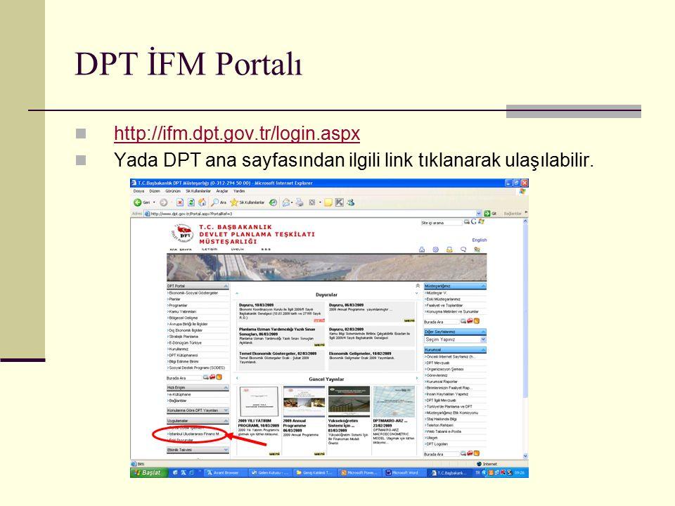 DPT İFM Portalı http://ifm.dpt.gov.tr/login.aspx Yada DPT ana sayfasından ilgili link tıklanarak ulaşılabilir.