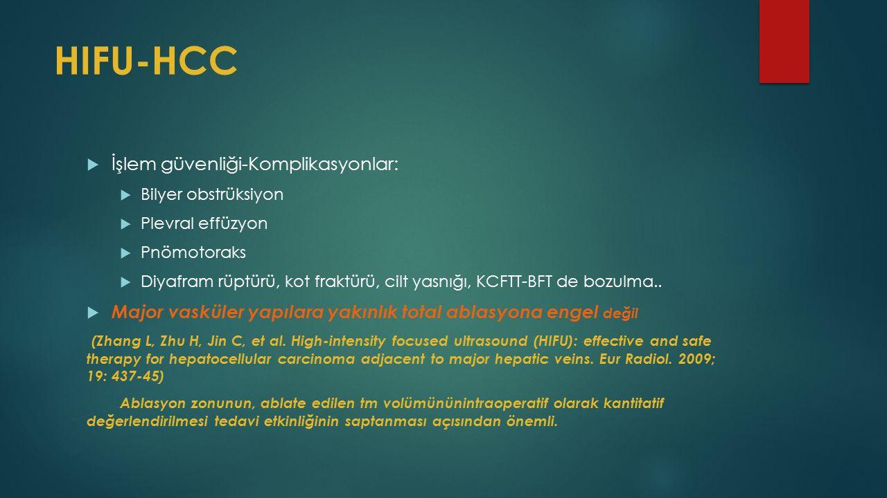 HIFU-HCC  İşlem güvenliği-Komplikasyonlar:  Bilyer obstrüksiyon  Plevral effüzyon  Pnömotoraks  Diyafram rüptürü, kot fraktürü, cilt yasnığı, KCFTT-BFT de bozulma..