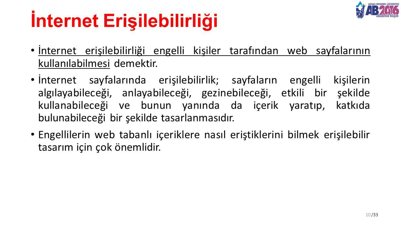 /33 İnternet Erişilebilirliği İnternet erişilebilirliği engelli kişiler tarafından web sayfalarının kullanılabilmesi demektir.