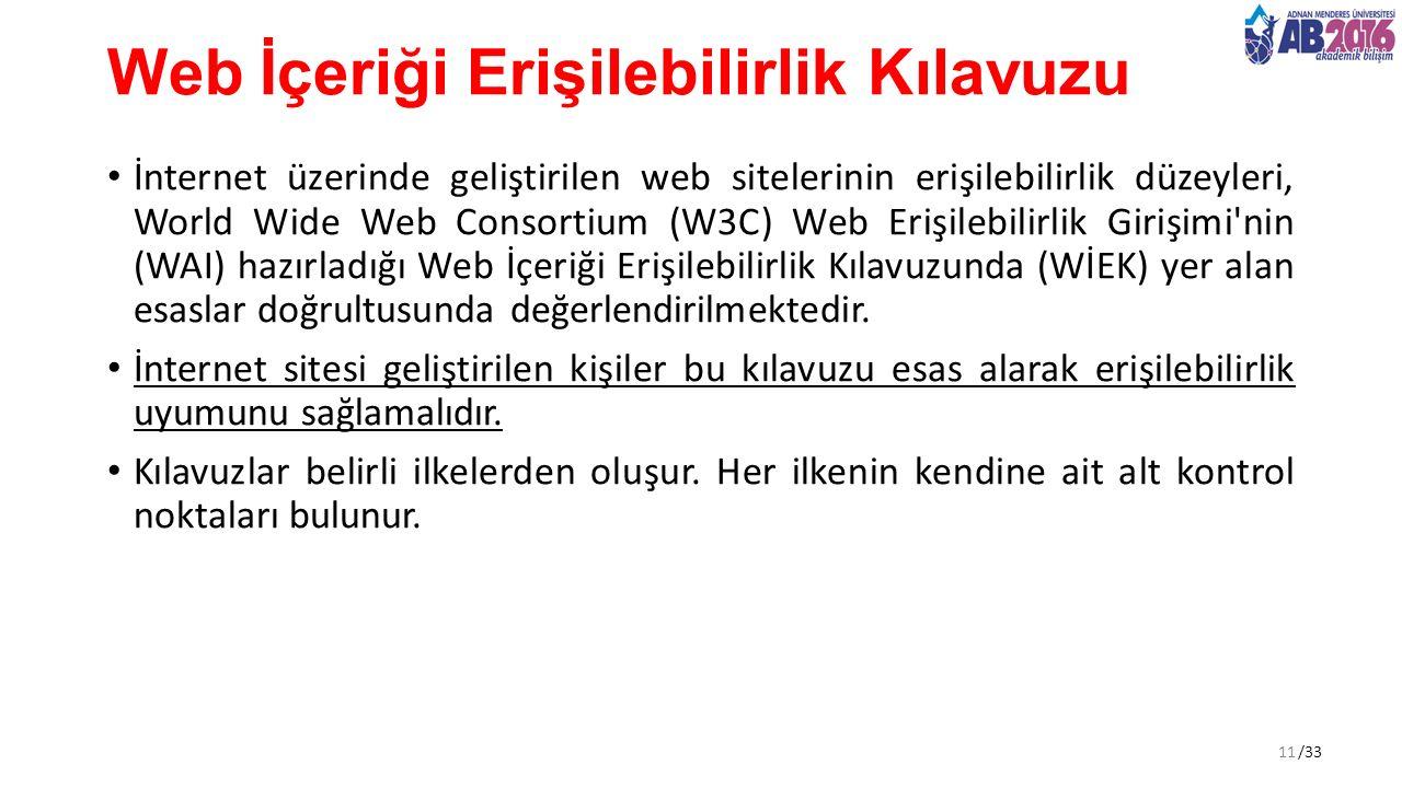 /33 Web İçeriği Erişilebilirlik Kılavuzu İnternet üzerinde geliştirilen web sitelerinin erişilebilirlik düzeyleri, World Wide Web Consortium (W3C) Web Erişilebilirlik Girişimi nin (WAI) hazırladığı Web İçeriği Erişilebilirlik Kılavuzunda (WİEK) yer alan esaslar doğrultusunda değerlendirilmektedir.