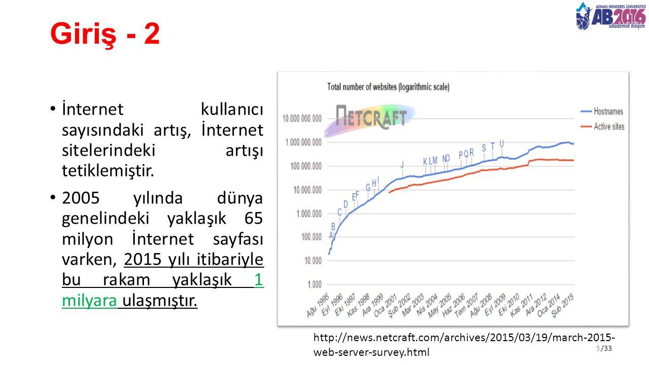/33 Giriş - 2 İnternet kullanıcı sayısındaki artış, İnternet sitelerindeki artışı tetiklemiştir. 2005 yılında dünya genelindeki yaklaşık 65 milyon İnt