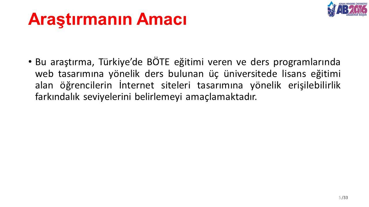 /33 Araştırmanın Amacı Bu araştırma, Türkiye'de BÖTE eğitimi veren ve ders programlarında web tasarımına yönelik ders bulunan üç üniversitede lisans eğitimi alan öğrencilerin İnternet siteleri tasarımına yönelik erişilebilirlik farkındalık seviyelerini belirlemeyi amaçlamaktadır.