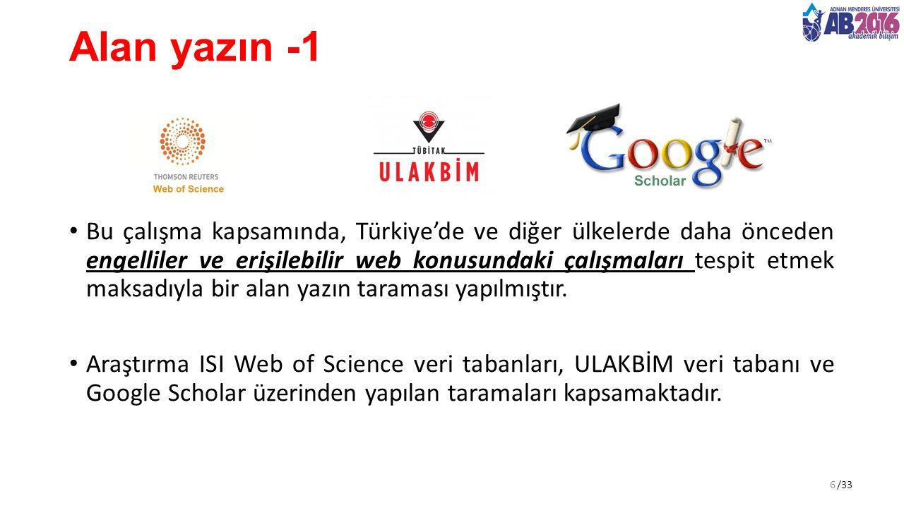 /33 Alan yazın -1 Bu çalışma kapsamında, Türkiye'de ve diğer ülkelerde daha önceden engelliler ve erişilebilir web konusundaki çalışmaları tespit etmek maksadıyla bir alan yazın taraması yapılmıştır.