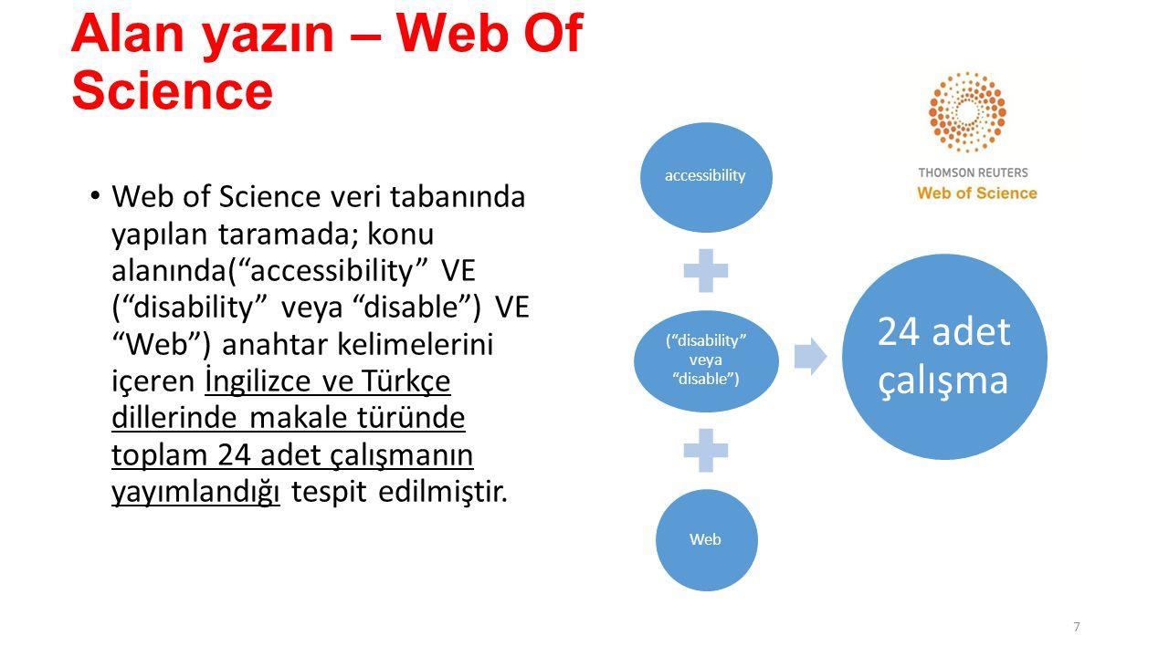 Alan yazın – Web Of Science Web of Science veri tabanında yapılan taramada; konu alanında( accessibility VE ( disability veya disable ) VE Web ) anahtar kelimelerini içeren İngilizce ve Türkçe dillerinde makale türünde toplam 24 adet çalışmanın yayımlandığı tespit edilmiştir.