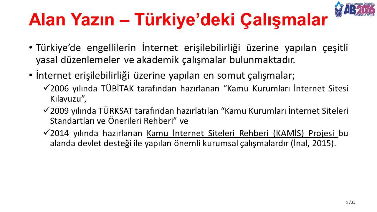 /33 Alan Yazın – Türkiye'deki Çalışmalar Türkiye'de engellilerin İnternet erişilebilirliği üzerine yapılan çeşitli yasal düzenlemeler ve akademik çalışmalar bulunmaktadır.
