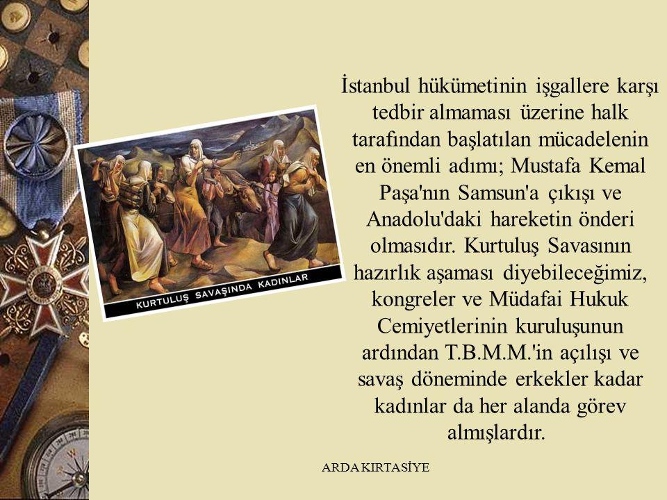 İstanbul hükümetinin işgallere karşı tedbir almaması üzerine halk tarafından başlatılan mücadelenin en önemli adımı; Mustafa Kemal Paşa nın Samsun a çıkışı ve Anadolu daki hareketin önderi olmasıdır.