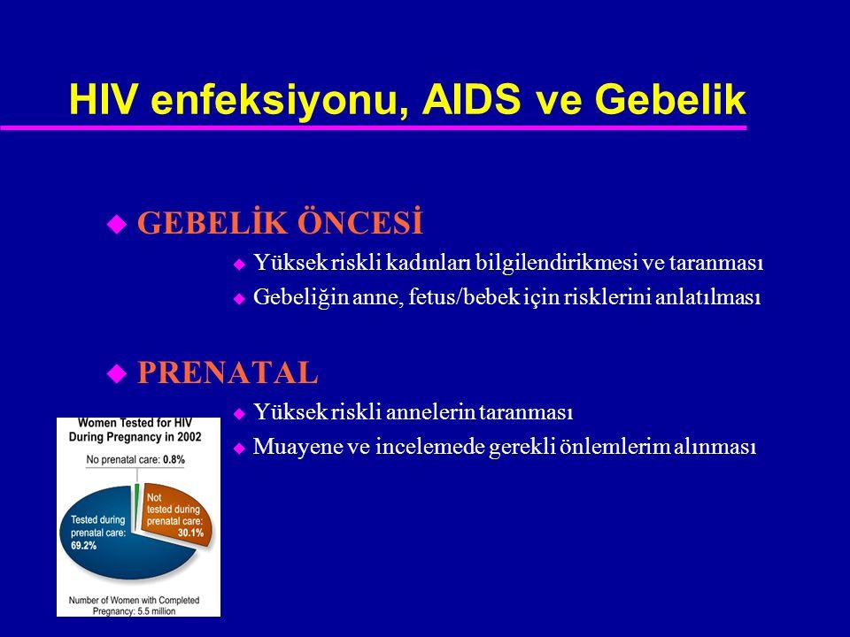 HIV enfeksiyonu, AIDS ve Gebelik u GEBELİK ÖNCESİ u Yüksek riskli kadınları bilgilendirikmesi ve taranması u Gebeliğin anne, fetus/bebek için riskleri