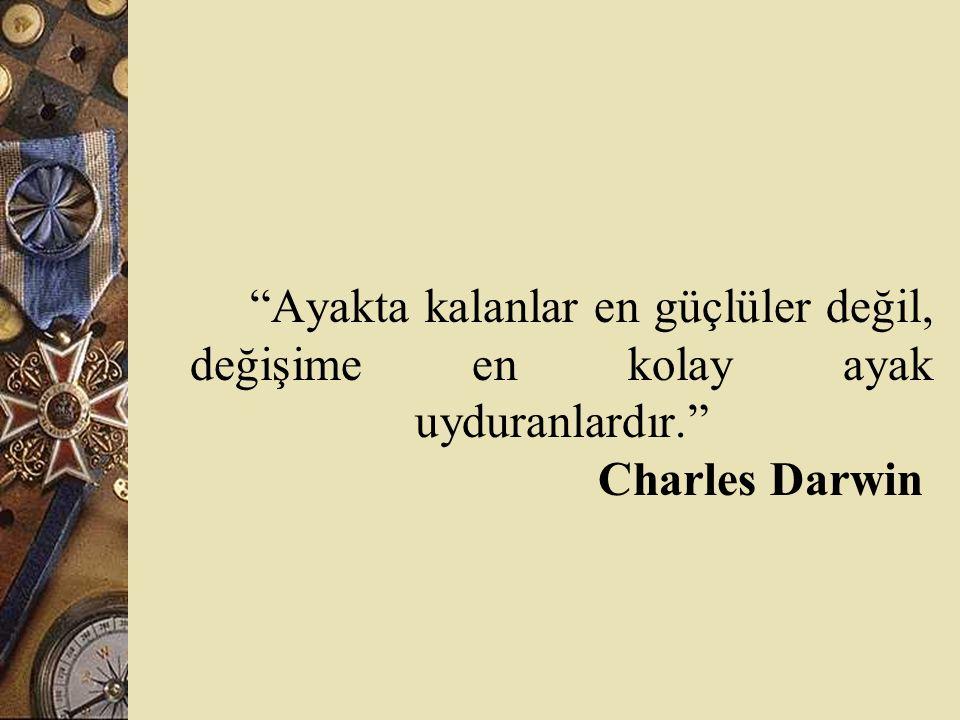 Ayakta kalanlar en güçlüler değil, değişime en kolay ayak uyduranlardır. Charles Darwin